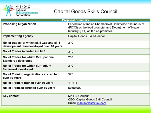 Capital Goods Skill Council (CGSC), CGSC, NSDC, PMKVY, Pradhan Mantri Kaushal Vikas Yojana, Skill India Mission,  PMs Skill India Mission,NSDC STAR welding, fitting,machining, mechatronics, tools & die making and fabrication,  power equipment, process plant machinery, machine tools, engineering goods and plastics machinery,   Federation of Indian Chambers of Commerce and Industry (FICCI), Department of Heavy industries (DHI),  Government of India,  National Skill Development Corporation (NSDC),Khchdi