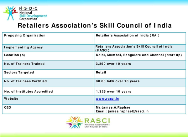 Retailers Association's Skill Council of India (RASCI), Retailers Association's Skill Council of India (RASCI), Khichdi, NSDC,PMKVY, STAR Scheme, PMKVY, Pradhan Mantri Kaushal Vikas Yojana, PM's Skill India Mission, Job roles   Store Ops Assistant , Trainee Associate , Sales Associate