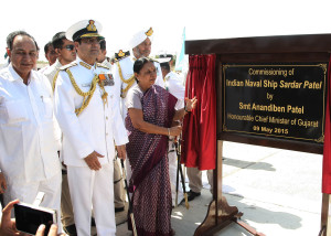 The Chief Minister of Gujarat, Smt. Anandiben Patel unveiling the plaque to inaugurate the commissioning ceremony of INS Sardar Patel, in Gujarat on May 09, 2015. The Chief of Naval Staff, Admiral R.K. Dhowan is also seen., Indian Navy commissions INS Sardar Patel naval base in Porbandar